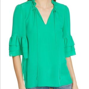 Alice & Olivia Julius tier sleeve silk tunic